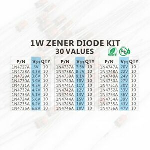 1w Zener Diode Assorted Kit 30 Values X 10pc 3v 3 3v 3 6v 3 9v 4 3v 4 7v