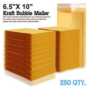 250 0 Wide Kraft Bubble Padded Envelopes Mailers 6 5 X 10 Fit Bags Dvd Cd Case