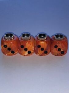 Dudds Dice Vortex Orange Swirl W Black Dots Valve Stem Caps 4 Pack