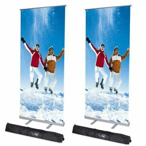 2pcs 32x79 Adjustable Telescopic Roll Up Banner Stand Fairs Trade Show Display