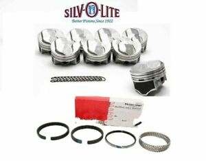 Chevy 7 4 454 Silvolite Hypereutectic 30cc Dome Pistons Cast Rings Std