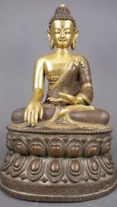 Beautiful Antique Chinese Tibetan Carved Gilt Bronze Buddha Rare