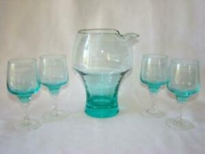 Mid Century Modern Glass Mixed Drink Bar Pitcher 4 Small Goblets