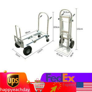 3 In 1 Folding Aluminum Moving Hand Truck Push Dolly Industrial Hand cart Truck