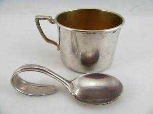 Silver Plate Baby Cup Bent Handle Infant Spoon By Nursery Cup 58204 Antique