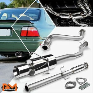 For 94 97 Honda Accord 2 2l 4 rolled Tip Muffler Stainless Steel Catback Exhaust