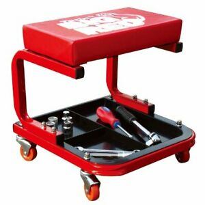 Torin Big Red Rolling Creeper Garage shop Seat Padded Mechanic Stool With Tool