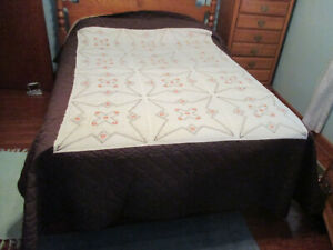 Vintage Brown Orange Embroidered Quilt Hand Stitched Quilted 84 X 102