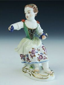 Antique Signed Meissen German Hand Painted Porcelain Grape Girl Figurine Statue