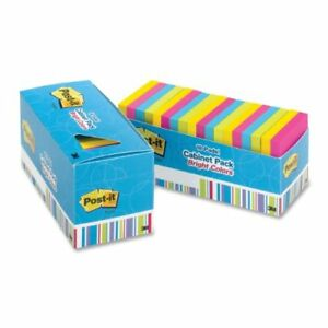 Post it Notes In Assorted Bright Colors Repositionable Self adhesive 3 X