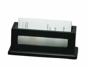 Victor Midnight Black Business Card Holder 1 8 X 4 3 X 1 6 Wood Faux
