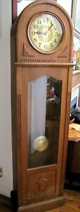 Antique German Art Deco 2 Weight Small Grandfather Clock Runs And Straight