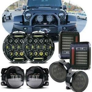 7 Led Headlight Fog Light Turn Tail Lights Combo Kit For Jeep Wrangler Jk 07 17