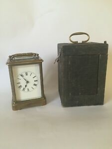 Antique Bell Striking Carriage Clock With Case Mantle Clock Bracket Clock