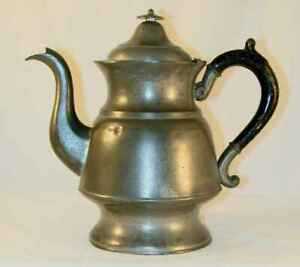 Antique American Made Pewter Teapot Painted Metal Handle Goose Neck Spout
