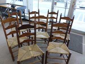 8 Wallace Nutting Ladder Back Chairs Cane Seat Block Brand 393