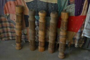5 Antique Large Ribbed Wooden Oak Table Legs For Diy Project Restoration 24