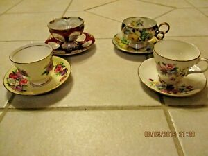 Vintage Tea Cup Saucer Lot Of 4 Duchess England Bone China Chase