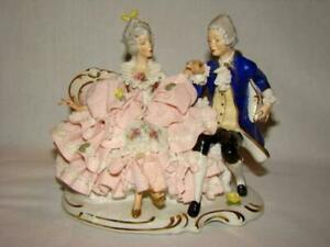 Gorgeous Vintage Porcelain Dresden Lace Courting Couple Large Figurine Germany