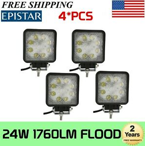 4x 24w Square Flood Work Light 12v 24v Fog Driving Lamp Truck Tractor Suv Motor
