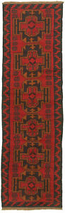 Hand Knotted Carpet 2 4 X 8 2 Traditional Vintage Wool Rug