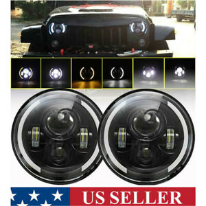2x 7 inch 200w Led Headlight Hi lo Halo Ring Drl For Jeep Wrangler Cj Jk Tj Lj