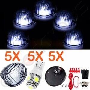 5x Smoke Round Cab Marker Top Clearance Light 5led Assembly For Chevrolet Trucks