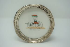 Vintage Sterling And Milk Glass Antique Buggy Coaster
