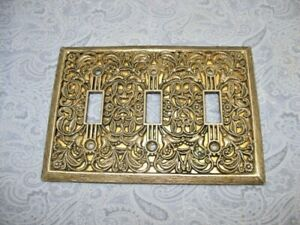 Vintage Metal Filigree Switch Plates Cover 3 Toggle Hollywood Regency Retro