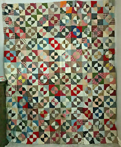 Outstanding Large Antique Snowball Quilt Top Late 1800 S Early 1900 S Unwashed
