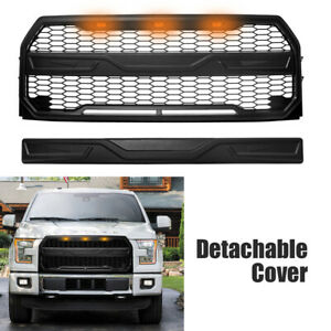 Front Grill Fit For Ford F150 15 17 Upper Mesh Grille With Cover And Led Black