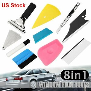 8 Pcs Car Window Film Tint Wrapping Vinyl Tools Squeegee Scraper Applicator Kit