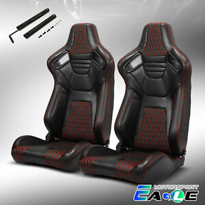 2xblack Pvc Main Red Stiching Reclinable Sport Racing Seats W Slider Left