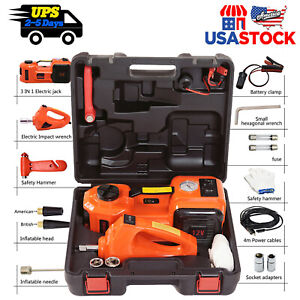 electric 5 ton Car Hydraulic Floor Jack Garage Tool Set With Impact Wrench 12v