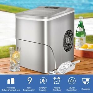Portable Electric Party Ice Maker Compact Top Load 26 Lbs day Ice Cube Machine