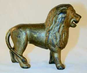 Antique Cast Iron Golden Still Penny Bank Gold Color Lion Tail Right Ac Williams