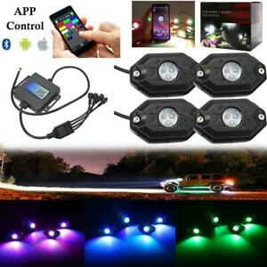 Auxbeam 4pcs Rgb Led Rock Lights Wireless Bluetooth For Off Road Car Truck Boat