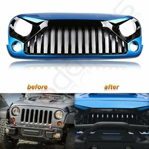 For 2007 2018 Jeep Wrangler Jk 2 4 Door Front Angry Bird Blue Black Grille