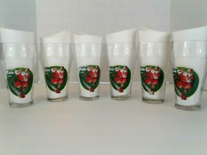 Vintage Coca Cola Christmas 1996 Santa Clause Drinking Glasses Lot of 6