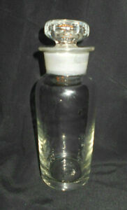 Antique Pharmacist Apothecary Bottle W Ground Glass Stopper 6 7 8 Tall