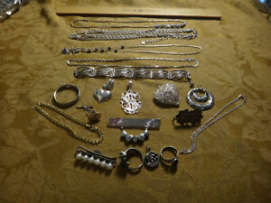 Antique Store Sell Off 100 Gram Sterling Silver Jewelry Lots Not Scrap 12