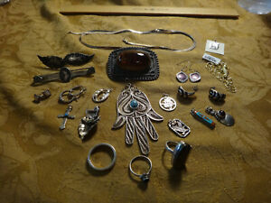 Antique Store Sell Off 100 Gram Sterling Silver Jewelry Lots Not Scrap 27