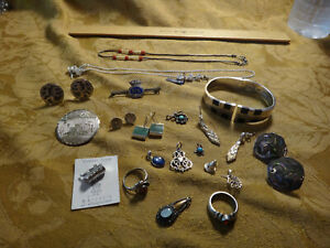 Antique Store Sell Off 100 Gram Sterling Silver Jewelry Lots Not Scrap 28