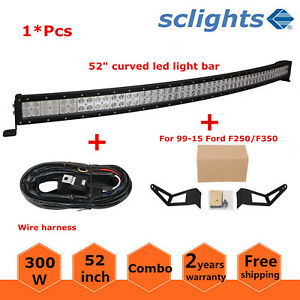 52inch Curved Straight Led Light Bar Mount Bracket Fit For 99 15 Ford F250 F350