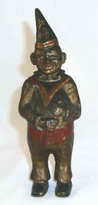 Antique Cast Iron Still Bank Clown In Pointed Hat Gold Red Colors Ac Williams