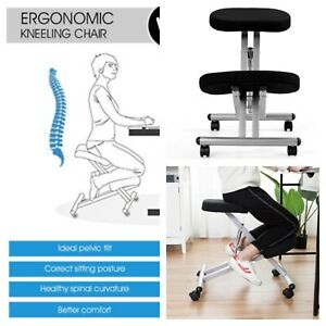 265lb Ergonomic Black Kneeling Posture Chair Padded Office Seat Knee Rest Wheels