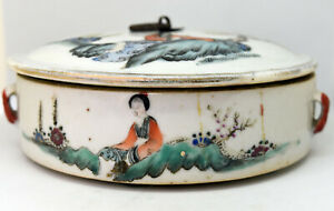 Antique Chinese Hand Painted Porcelain Lidded Bowl 5 5 Wide