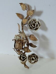 Vintage Italian Tole Candle Holder White Roses Gilded Leaves Shabby Cottage Chic