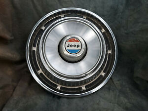 1 Oem 60 80 s Jeep 15 Stainless Steel Metal Hubcap 4x4 Red White And Blue