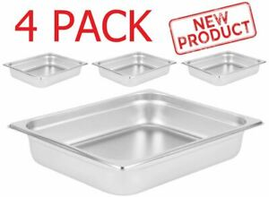 4 Pack 2 1 2 Deep Stainless Steel Half Pan Steam Table Hotel Restaurant Pans